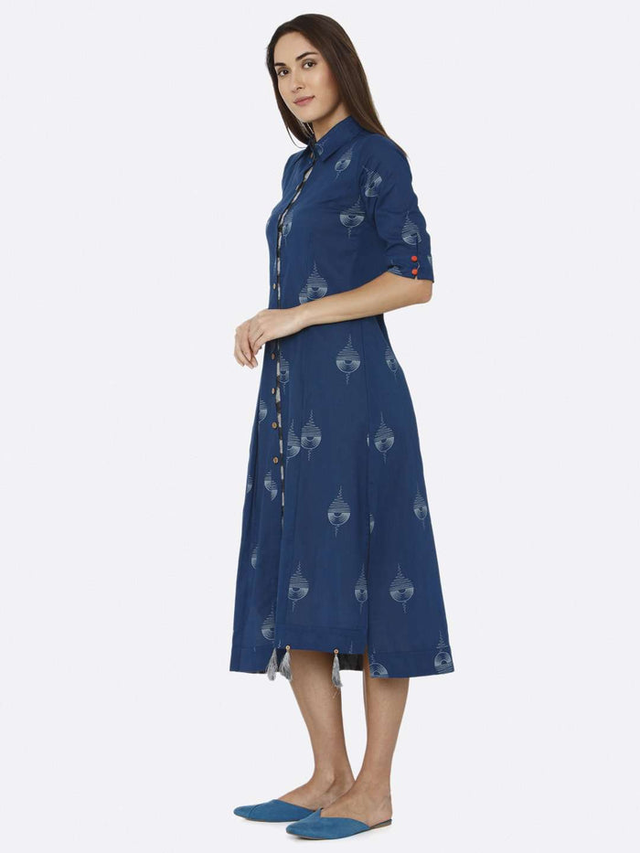 Left Side Blue Printed Cotton A-Line Dress