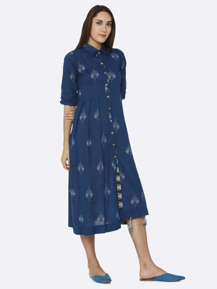 Right Side Blue Printed Cotton A-Line Dress