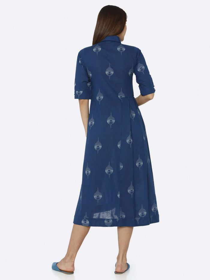 Back Side Blue Printed Cotton A-Line Dress