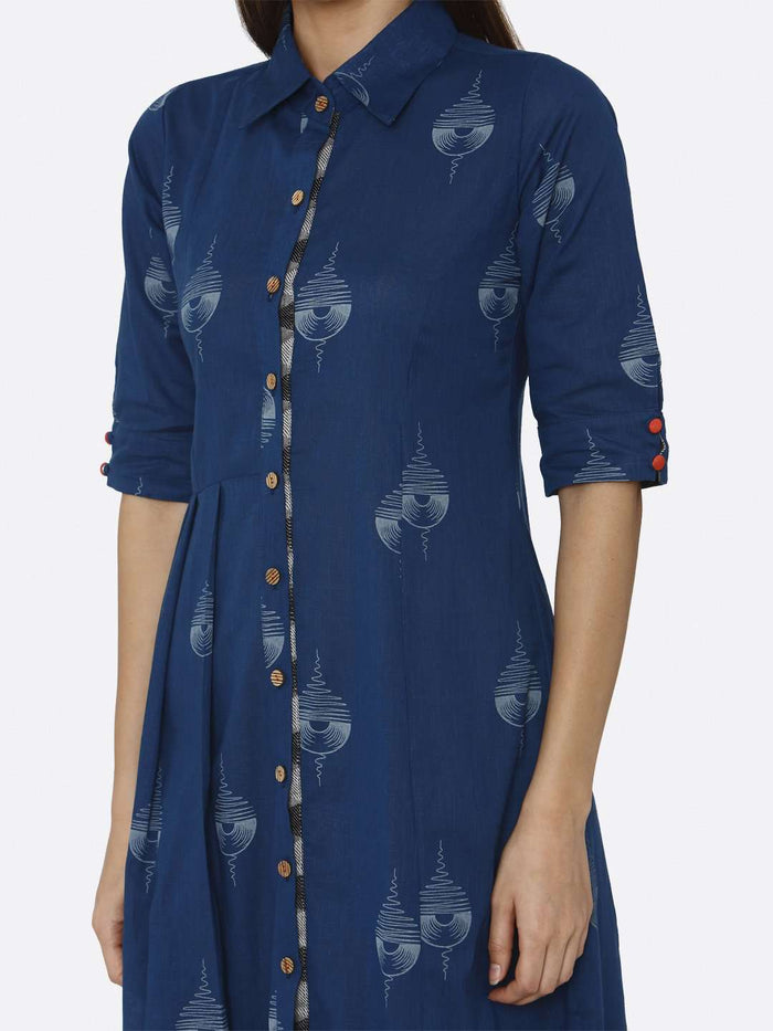 Blue Printed Cotton A-Line Dress