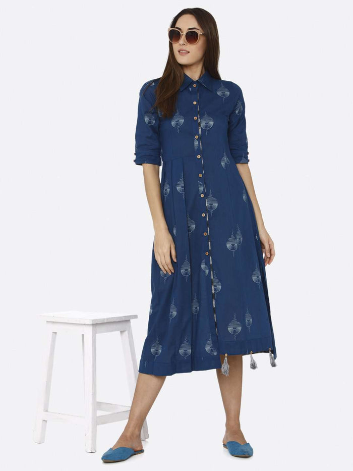 Casual Wear Blue Printed Cotton A-Line Dress