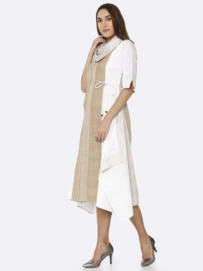 Off White Solid Cotton A-Line Dress