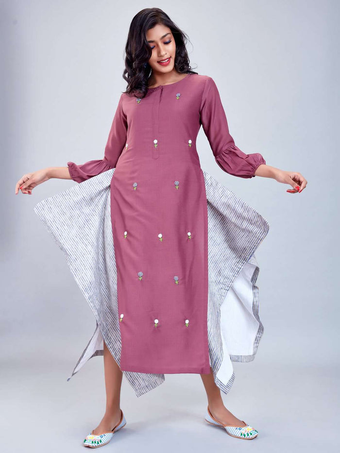 Front Side Purple Embroidered Muslin Cotton Kurti
