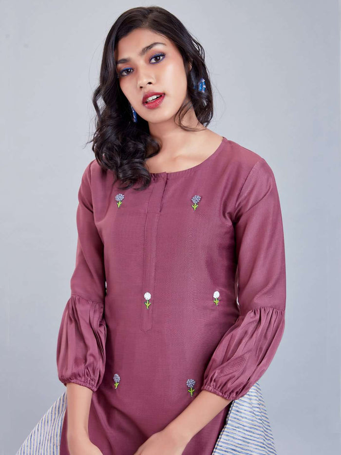 Front Side Embroidered Muslin Cotton Kurti With Puple Color