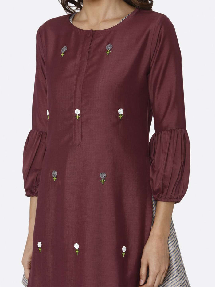 Front Side Embroidered Muslin Cotton Kurti With Purple Color