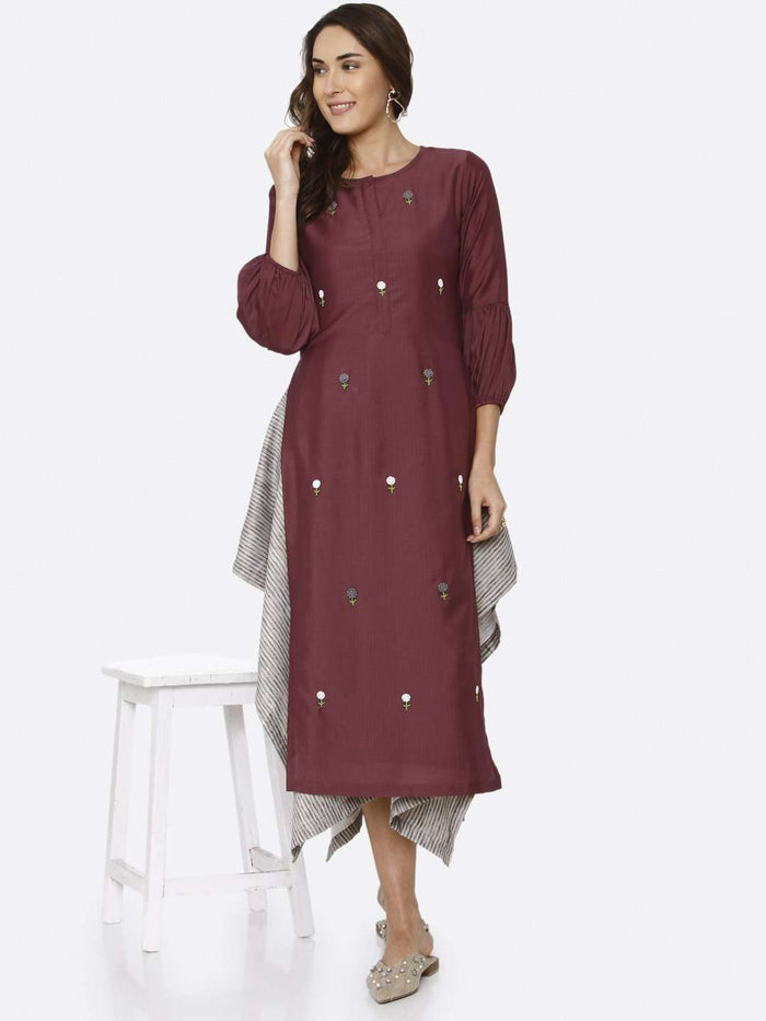 Party Wear Embroidered Muslin Votton Kurti With Purple Color