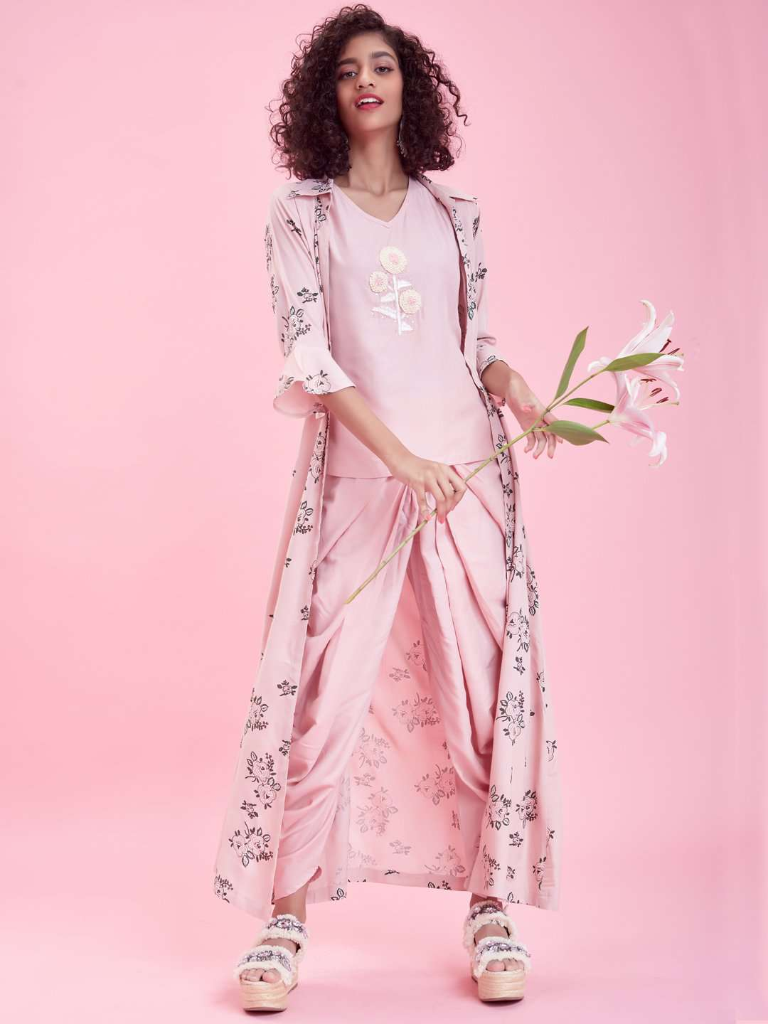 Front Side Pink Rayon Liva Dhoti Set with Long Printed Jacket