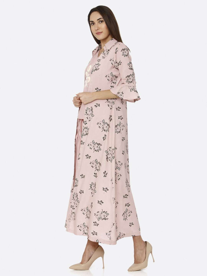 Left Side Pink Rayon Liva Dhoti Set with Long Printed Jacket