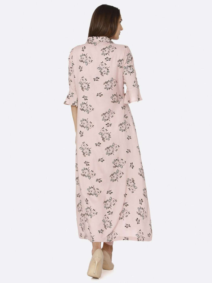 Back Side Pink Rayon Liva Dhoti Set with Long Printed Jacket