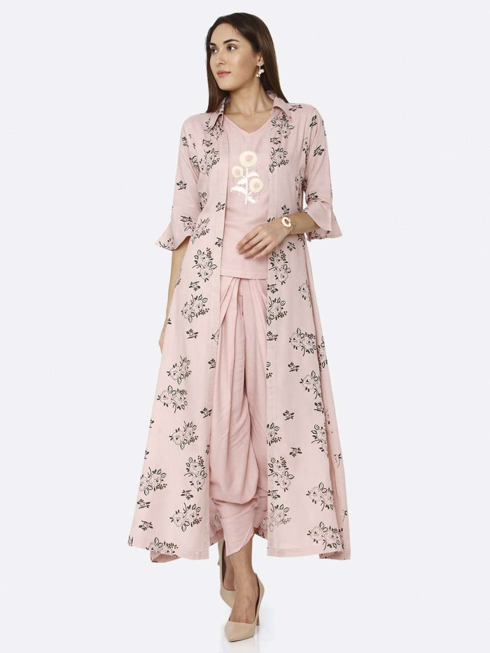 Casual Pink Rayon Liva Dhoti Set with Long Printed Jacket