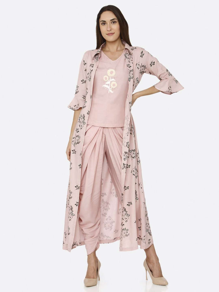 Full Front Side Pink Rayon Liva Dhoti Set with Long Printed Jacket