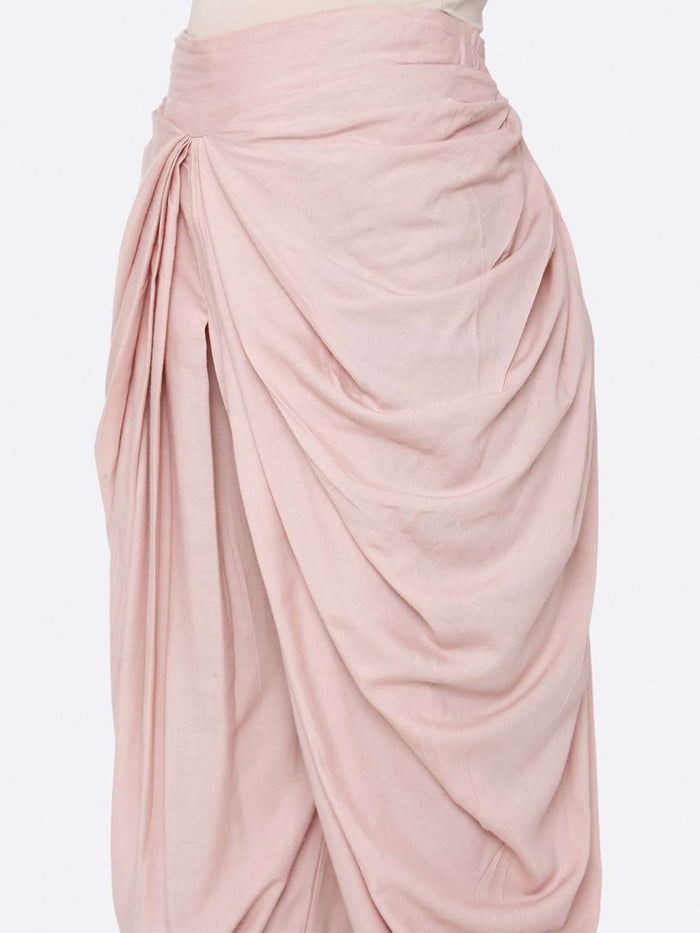 Left Side Rayon Liva Dhoti With Pink Color