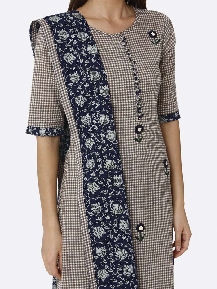 Brown & Blue Embroidered Cotton Kurta with Palazzo Printed Dupatta