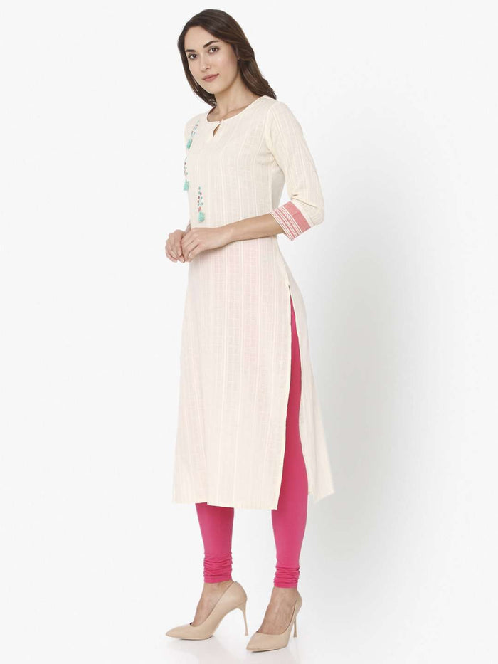 Left Side Off White Solid Cotton Straight Kurti With Pink Palazzo Pant