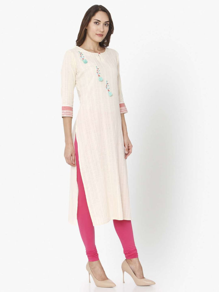 Right Side Off White Solid Cotton Straight Kurti With Pink Palazzo Pant