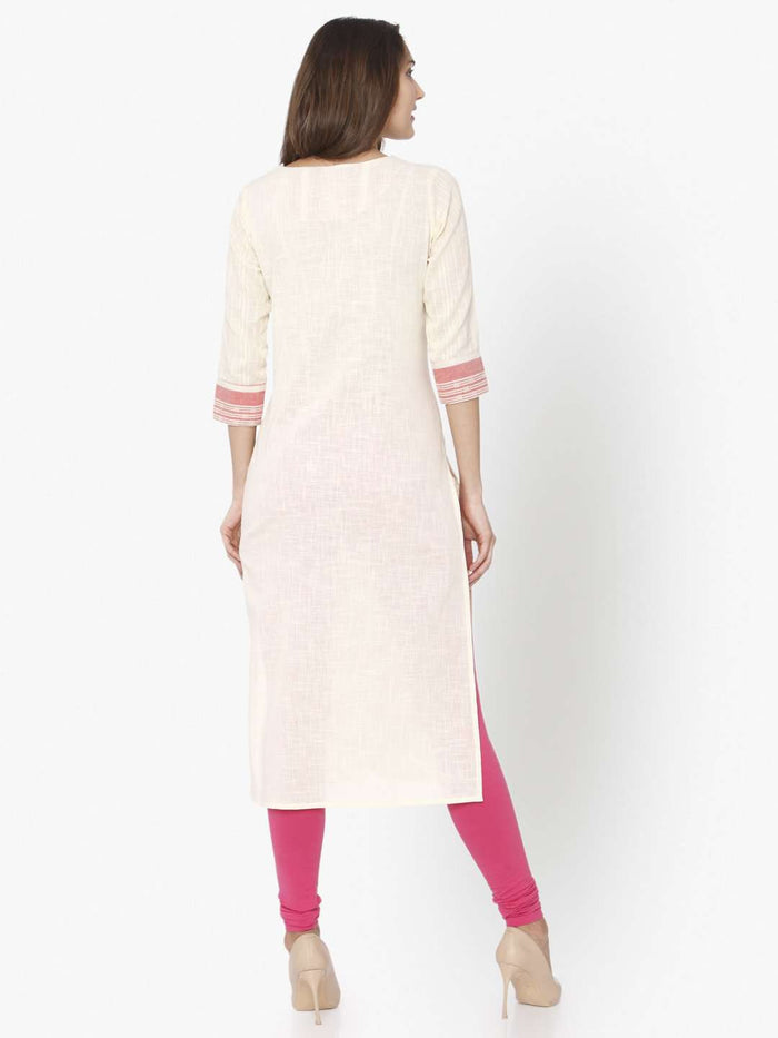 Back Side Off White Solid Cotton Straight Kurti With Pink Palazzo Pant