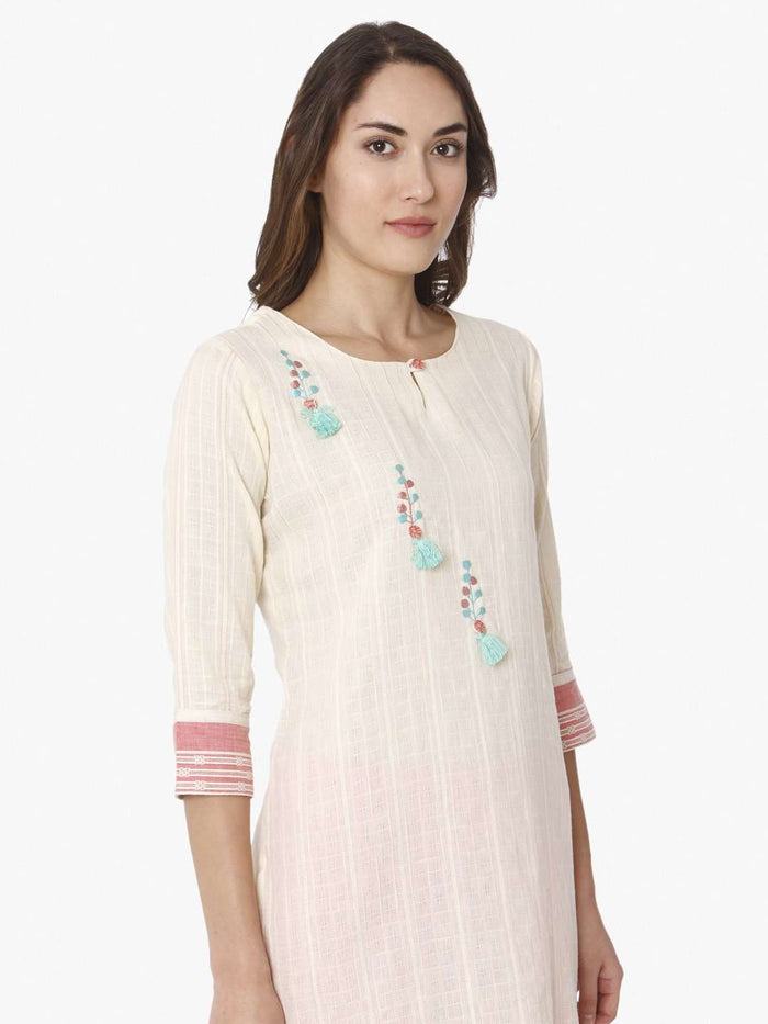 Right Side Off White Solid Cotton Straight Kurti