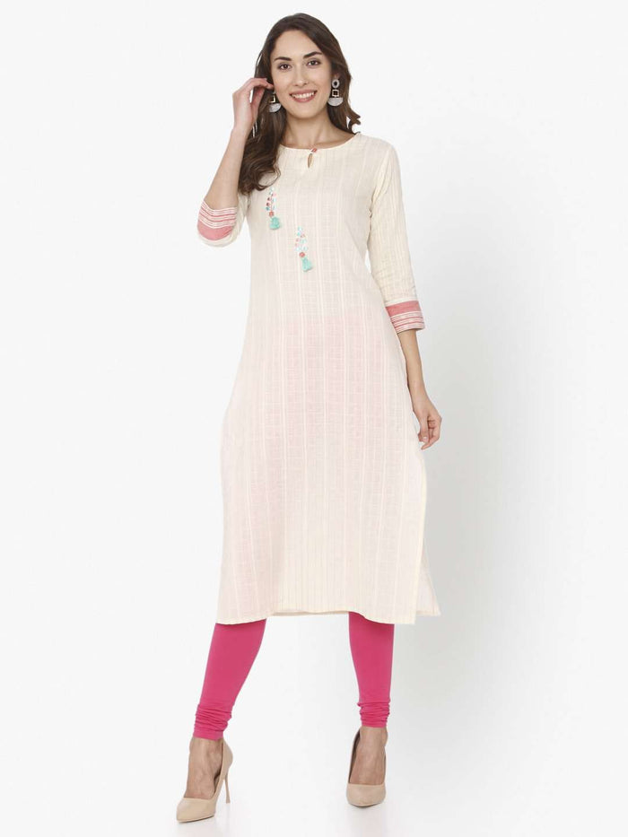 Front Side Off White Solid Cotton Straight Kurti