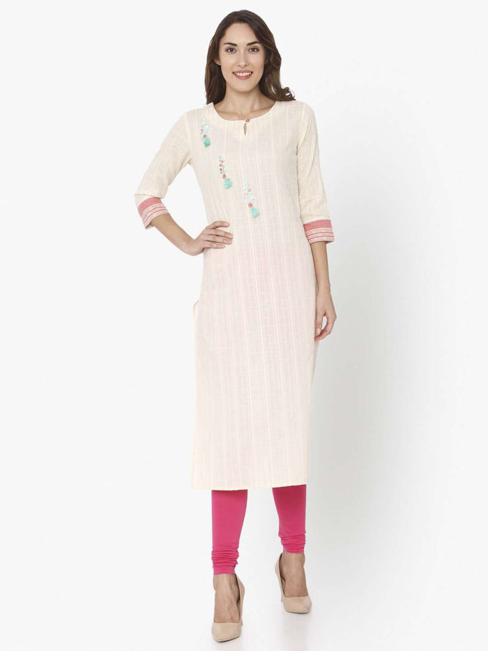 Front Side Off White Solid Cotton Straight Kurti With Pink Palazzo Pant