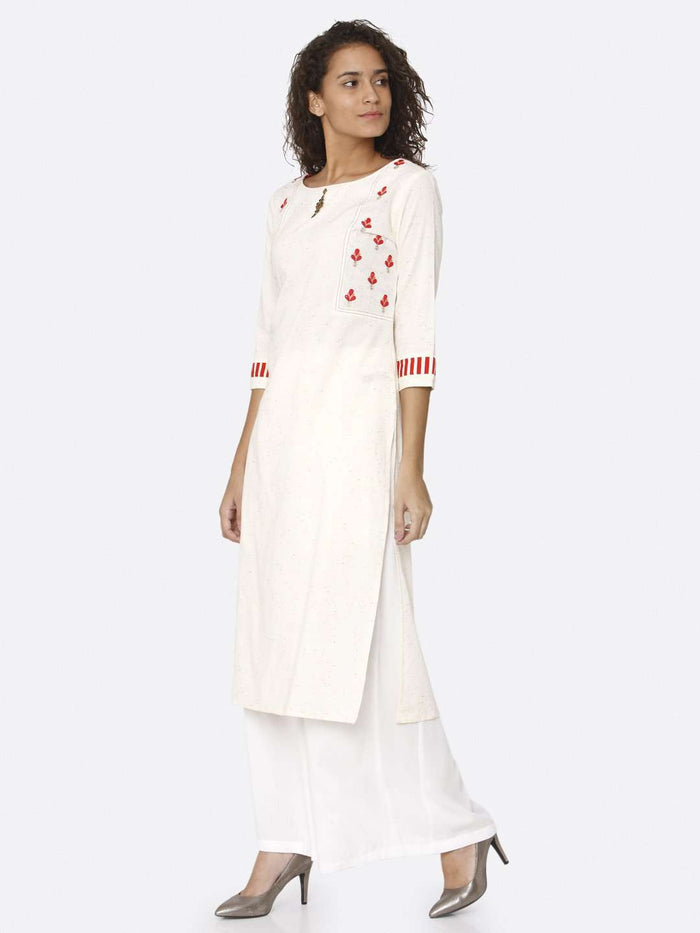 Left Side Off White Embroidered Cotton Straight Kurti With White Palazzo
