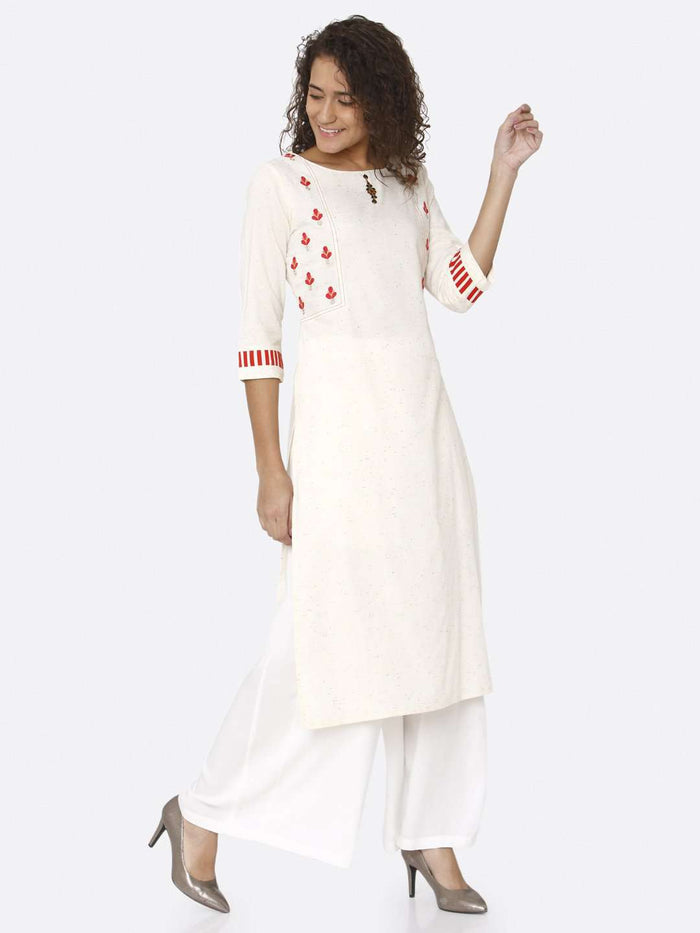 Right Side Off White Embroidered Cotton Straight Kurti With White Palazzo