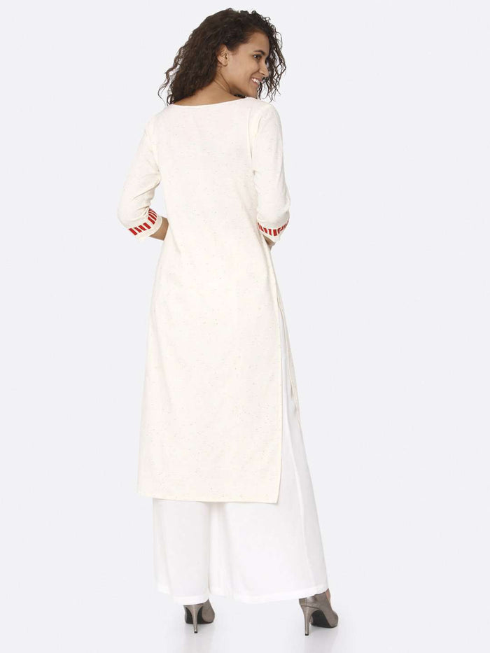 Back Side Off White Embroidered Cotton Straight Kurti With White Palazzo