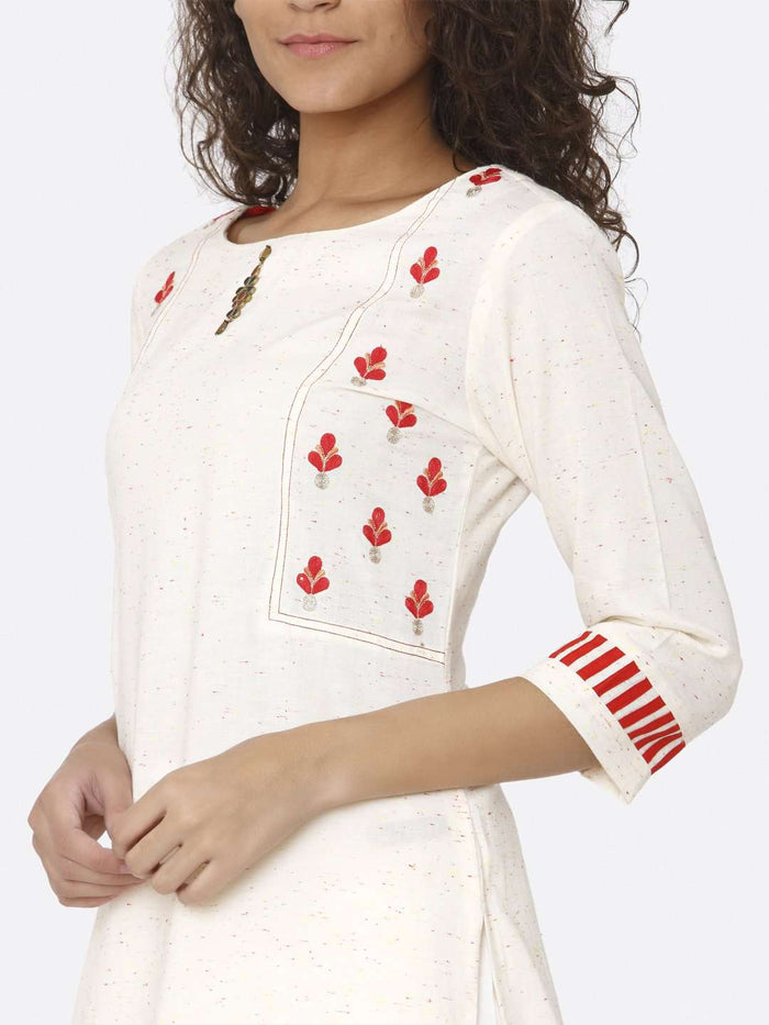 Left Side Off White Embroidered Cotton Straight Kurti