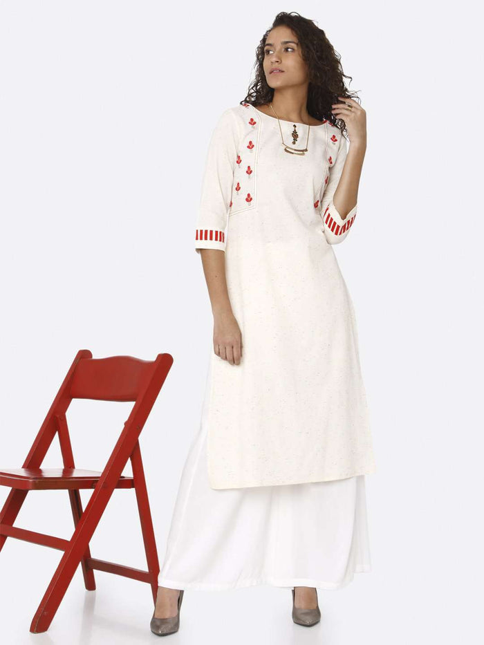 Front Side Casual Off White Embroidered Cotton Straight Kurti With White Palazzo Pant