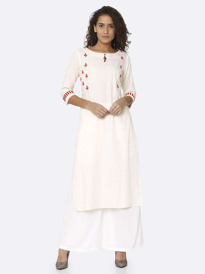 Front Side Off White Embroidered Cotton Straight Kurti With White Palazzo