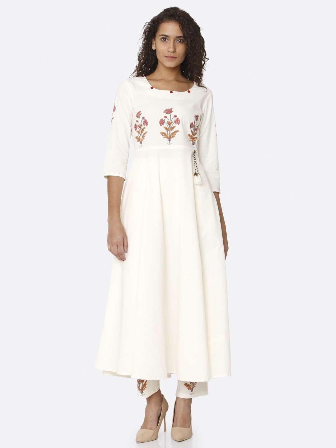 Front Side White Printed Cotton Kurta with Palazzo