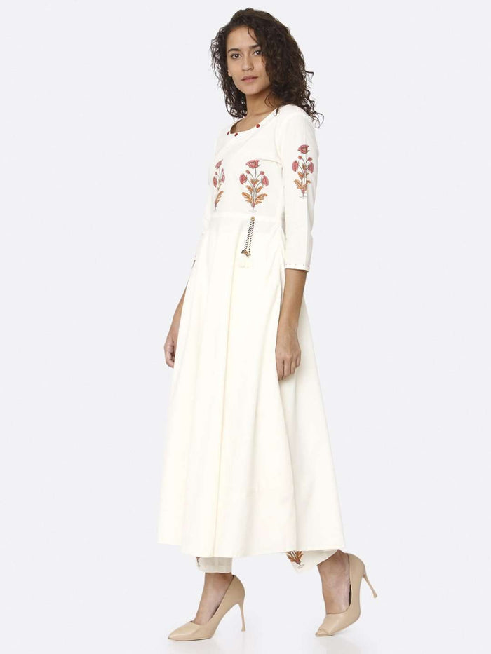 Left Side White Printed Cotton Kurta with Palazzo
