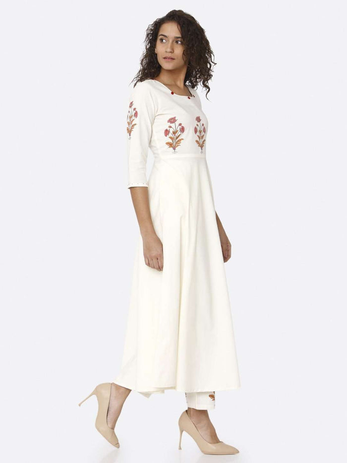 Right Side White Printed Cotton Kurta with Palazzo