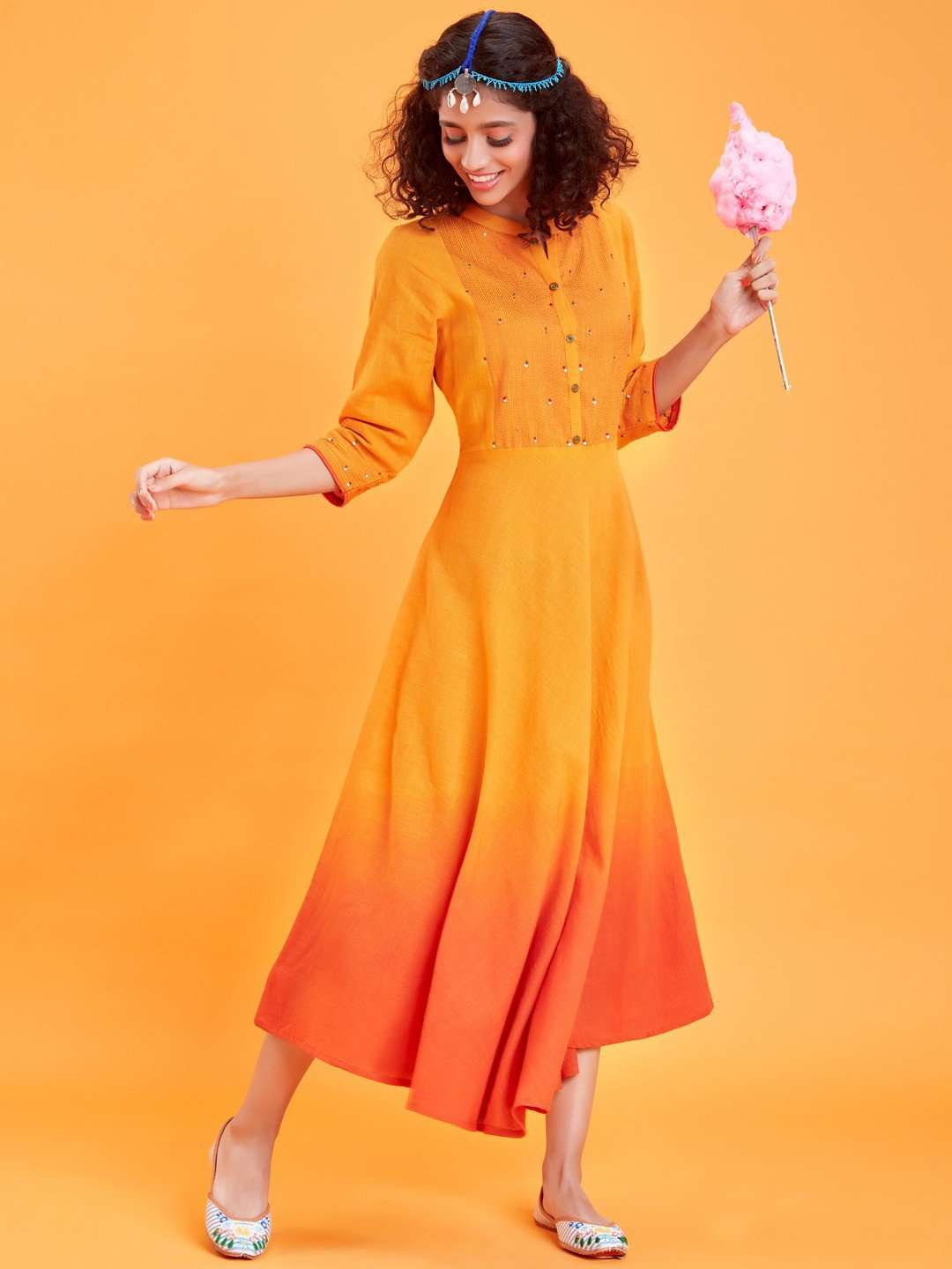 Front Side Yellow Plain Silk Long Dress