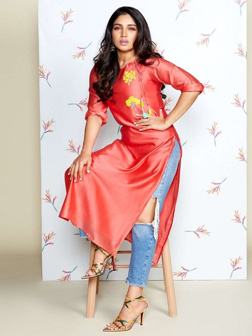 Front Side Embroidered Silk Straight Kurti With Pink Color