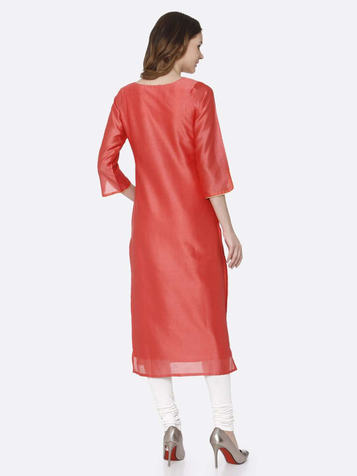 Back Side Pink Embroidered Silk Straight Kurti With White Palazzo Pant