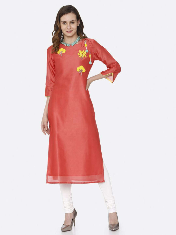 Front Side Casual Pink Embroidered Silk Straight Kurti