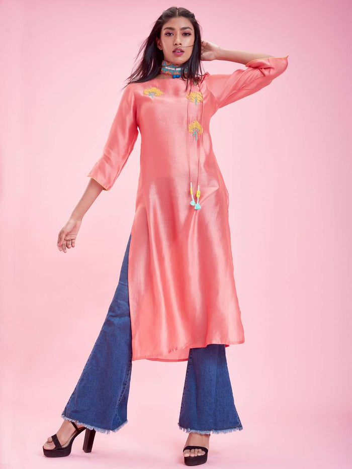 Full Front Pink Embroidered Silk Straight Kurti With Denim Palazzo