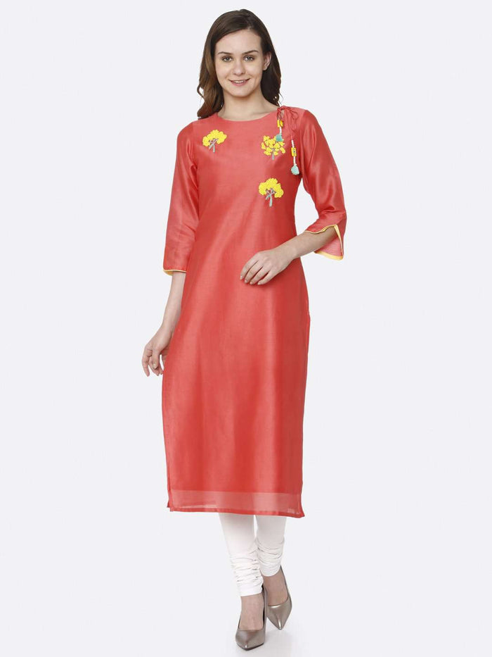 Front Side Pink Embroidered Silk Straight Kurti With White Palazzo Pant