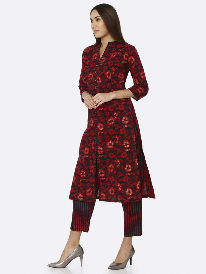 Left Side Maroon Printed Cotton Kurti Palazzo Set