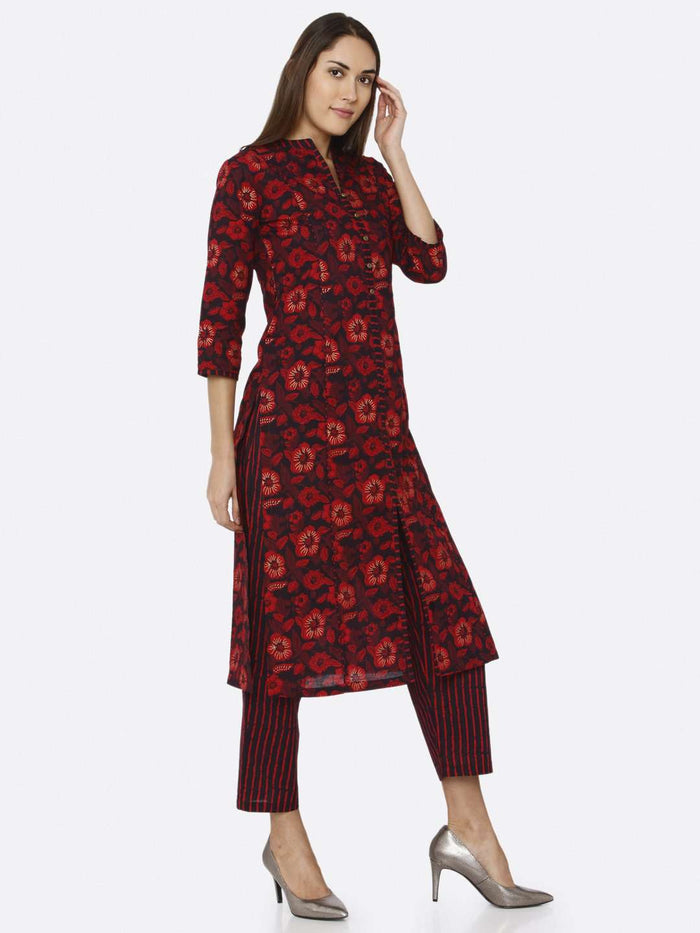 Right Side Maroon Printed Cotton Kurti Palazzo Set