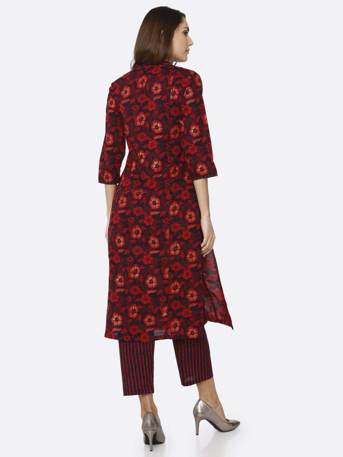 Back Side Maroon Printed Cotton Kurti Palazzo Set