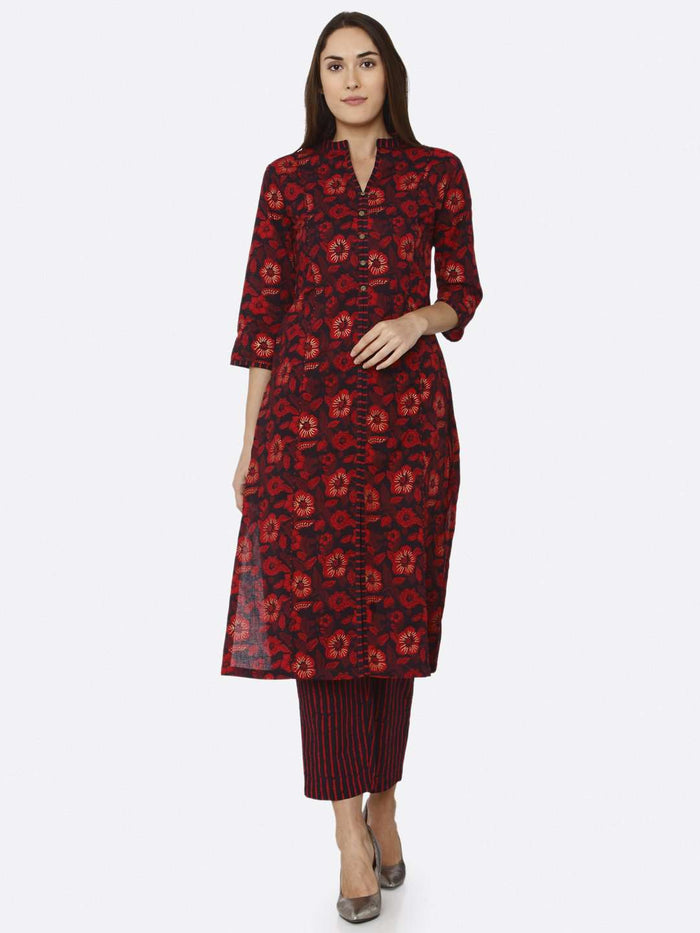 Front Side Maroon Printed Cotton Kurti Palazzo Set