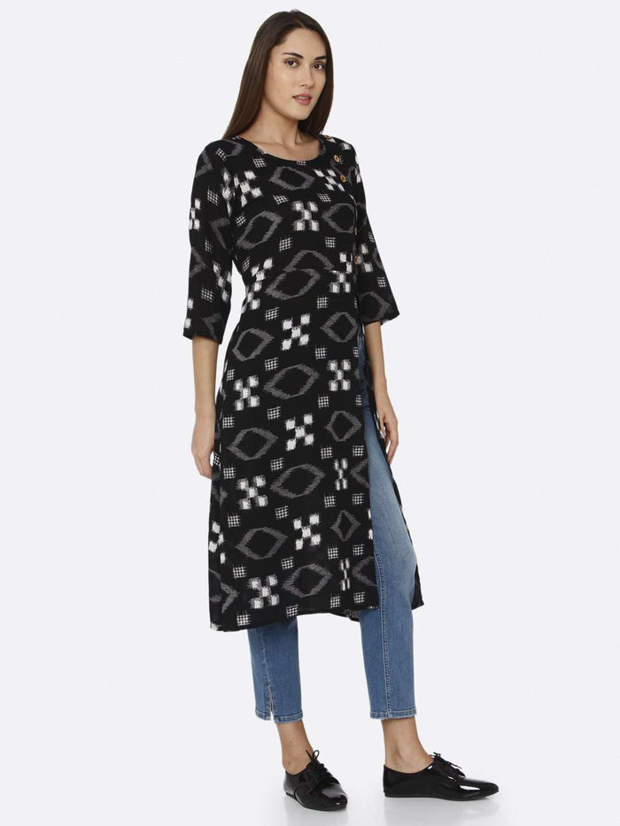 Right Side Black Printed Rayon Liva Straight Kurti With Denim Pant