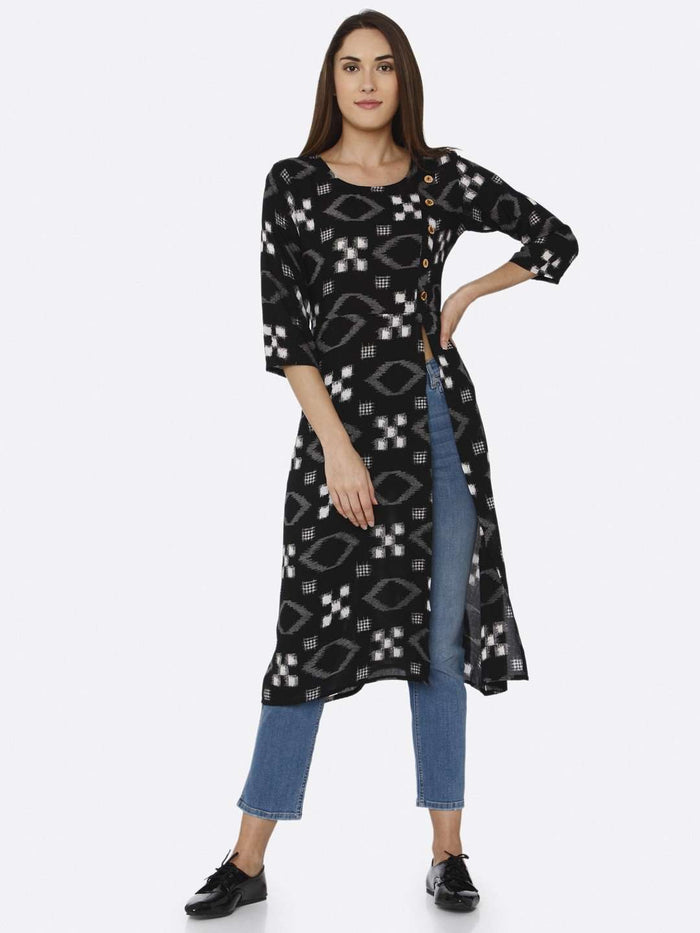 Front Side Black Printed Rayon Liva Straight Kurti With Denim Pant