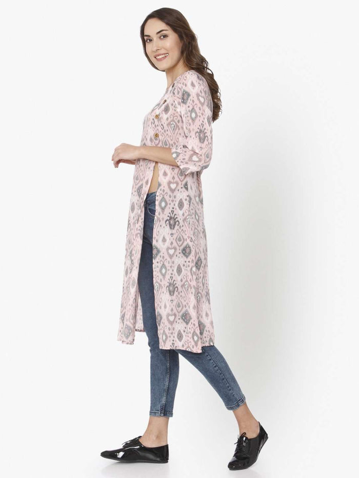 Left Side Light Pink Ikkat Printed Rayon Liva Kurti With Jeans Pant