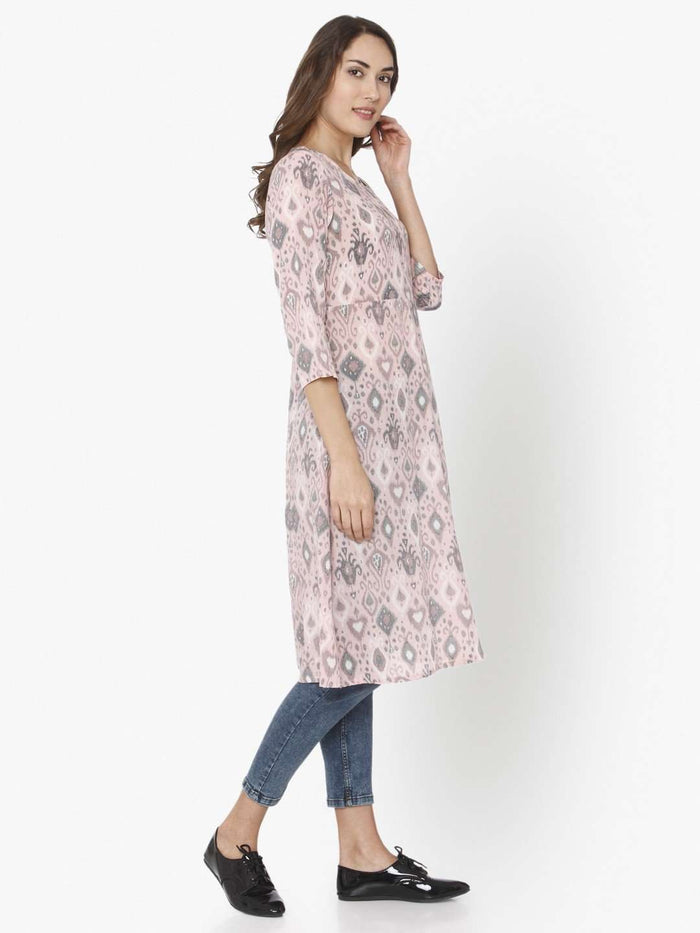 Right Side Light Pink Ikkat Printed Rayon Liva Kurti With Jeans Pant