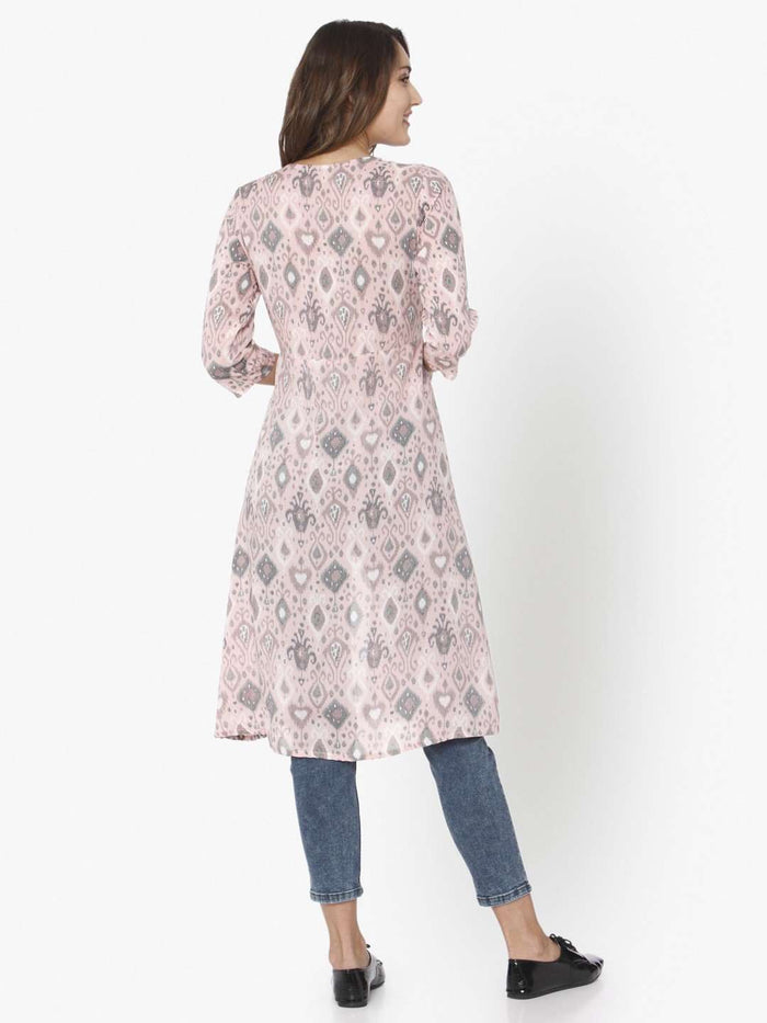 Back Side Light Pink Ikkat Printed Rayon Liva Kurti With Jeans Pant