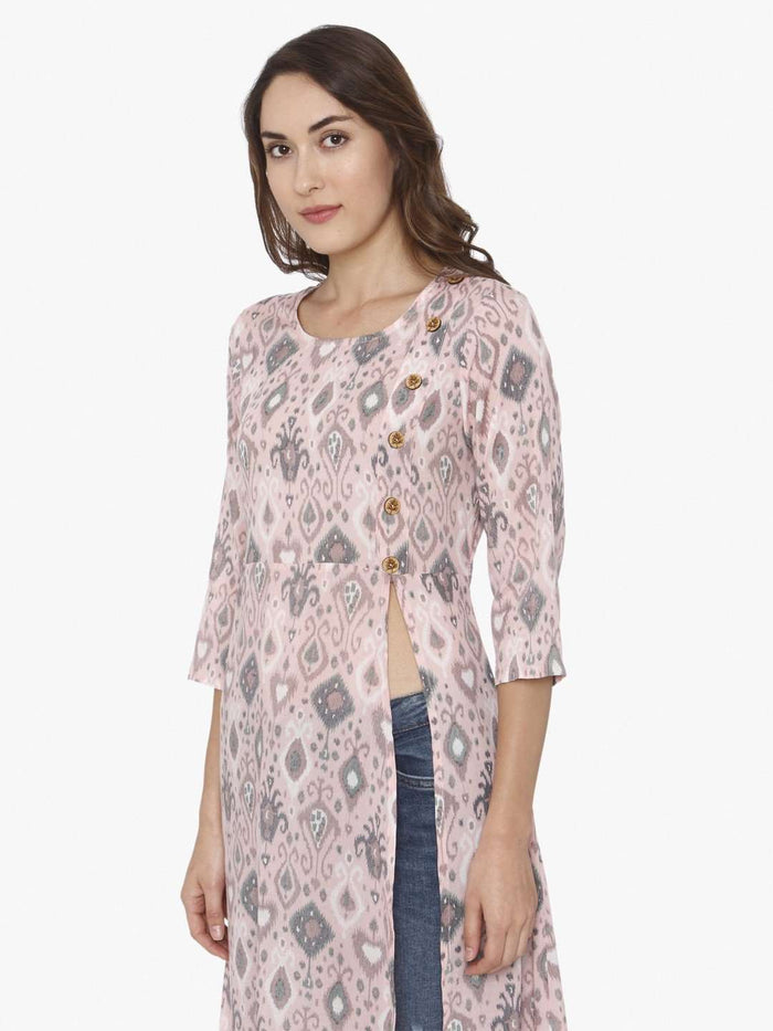 Right Side Light Pink Ikkat Printed Rayon Liva Kurti