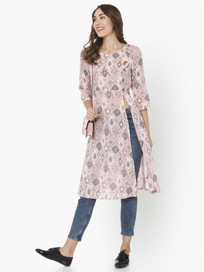 Front Side Ikkat Printed Rayon Liva Kurti With Light Pink Color