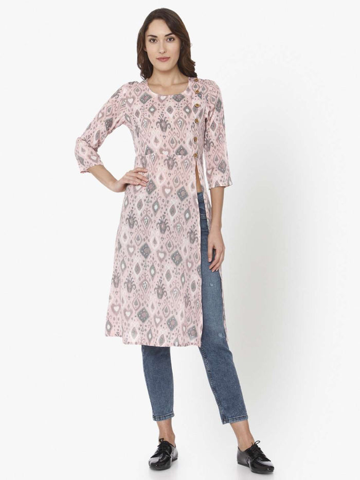 Front Side Light Pink Ikkat Printed Rayon Liva Kurti With Jeans pant